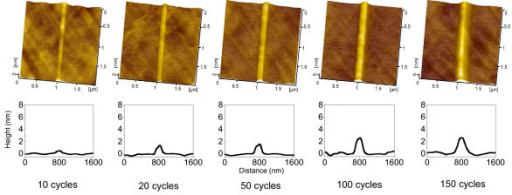 Nanolines produced by various number of scratching cycles. AFM images (top) and cross-sectional profiles (bottom) of the friction-induced nanolines on quartz surface created after various number of scratching cycles. The applied normal load Fn is 5 μN.