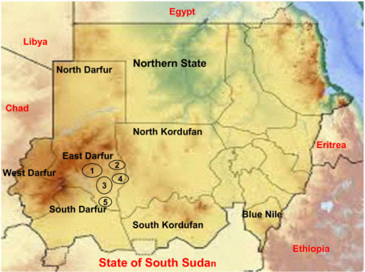 Localities of East Darfur are illustrated by circle with the numbers inside. Number 1 = ElDeain; Number 2 = Abujabra; Number 3 = Assalaysa, Number 4 = Elfirdus, Number 5 = Bahr El Arab.