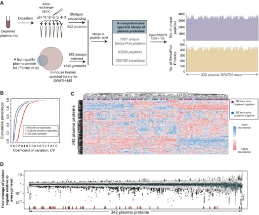 Proteomic identification and reproducible quantification among the twin cohortA The establishment of a comprehensive, specific spectral library of human plasma proteome that is ready for SWATH-MS analysis. The reference spectra were generated a priori by extensive shotgun proteomic sequencing of fractionated plasma peptides and complemented with spectra of additional known plasma proteins (Farrah et al, 2011).B The coefficient of variance (CV) analysis at technical, whole-process experimental and cohort levels.C Heatmap of hierarchical clustering analysis of the protein vs. sample matrix indicates that plasma proteins were reproducibly quantified by SWATH-MS across the sample cohort.D The distribution of the fold changes of protein SWATH-MS intensities from their average abundance levels across the cohort is shown as box plots. Antithrombin III (ANT3) and vitamin D-binding protein (VTDB) are shown as examples of the most stable proteins, whereas apolipoprotein(a) (APOA) and serum amyloid A-1 protein (SAA1) are shown as examples of the most variable proteins. The red bars show the positions of the protein analytes whose measurement has been cleared or approved by FDA in human blood.