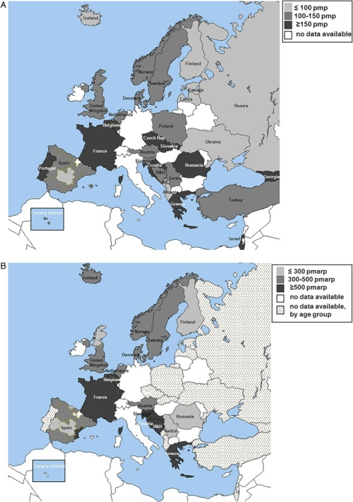 (A) The unadjusted incidence of ESRD patients on RRT, pmp on Day 1, among all national and regional renal registries in 30 countries reporting to the ERA-EDTA Registry in 2012. The incidence data for Czech Republic and Slovakia include dialysis patients only. Dutch- and French-speaking Belgium, the Spanish regions of Cantabria, Castile and León and Castile-La Mancha and the UK; England, Northern Ireland and Wales do not report on patients younger than 20 years. (B) The unadjusted incidence of ESRD patients aged 75 years and older on RRT, per million age-related population (pmarp) at Day 1, among all national and regional renal registries in 17 countries providing individual level data to the ERA-EDTA Registry in 2012. B&H: Bosnia–Herzegovina; ME: Montenegro.