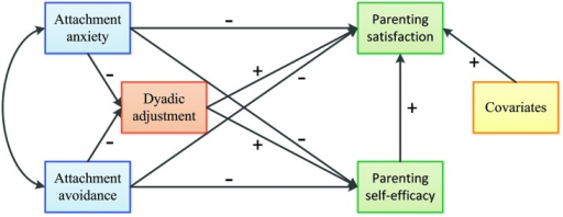 Theoretical model linking adult attachment, dyadic adjustment, parenting self-esteem. Plus and minus signs indicate the hypothesized direction of the proposed paths.