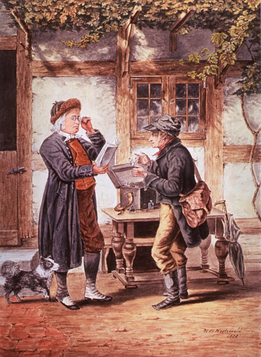 <p>In a scene outside a shop, an old man tests reading glasses while an itinerant spectacle seller holds another pair for him to try.</p>