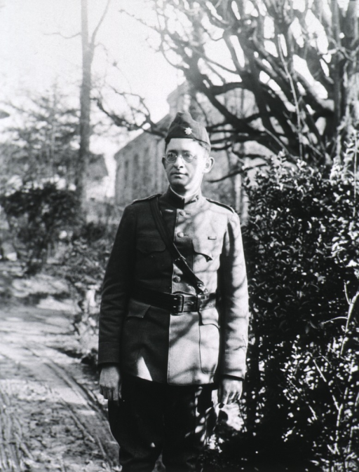 <p>Three-quarter length, standing, full face; wearing uniform.</p>