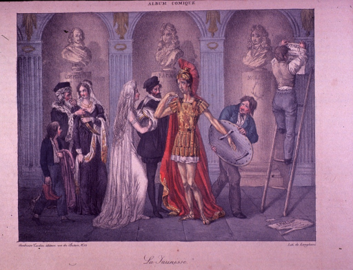 <p>A man is helping a sorrowful looking warrior in a jaundice-yellow uniform with his shield.  The warrior faces a woman dressed in white standing next to a man in Shakespearean dress.  A boy is carrying shoes and a robe.  A man on a ladder and busts of Racine and Moliere are in the background.</p>