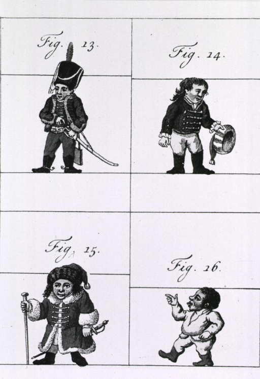 <p>Four short men of varying heights relative to each other; wearing various costumes.</p>