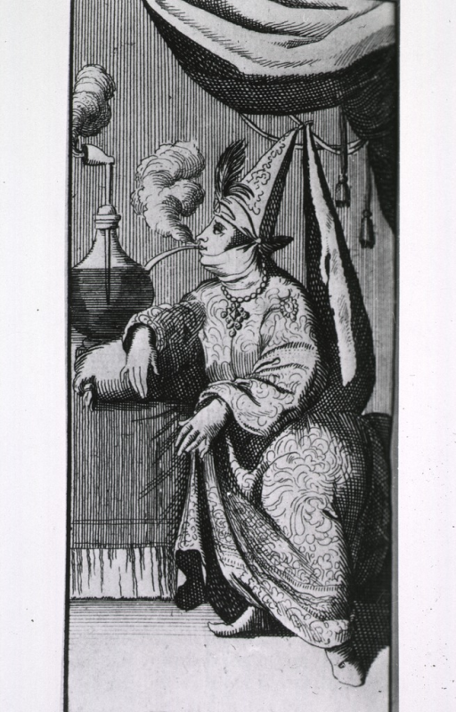 <p>A wizard, seated, leaning on a table, is smoking from a water pipe fashioned from a long stemmed pipe and a glass container.</p>