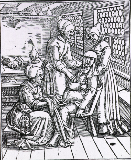 <p>A pregnant woman sitting in a birthing chair is being attended to by three midwives, one ready to receive the baby, the second standing behind the chair, and the third standing at the woman's side comforting her. Implements are on a table in background.</p>