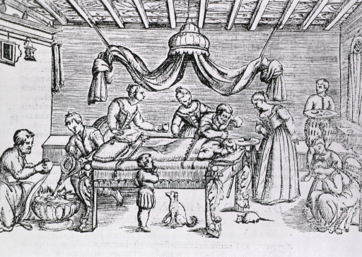 <p>Interior scene, trephination in progress; family members show great concern during operation; several assistants perform various tasks as the surgeon bores a hole in the patient's skull. A dog and a rat are in close proximity to the bed.</p>