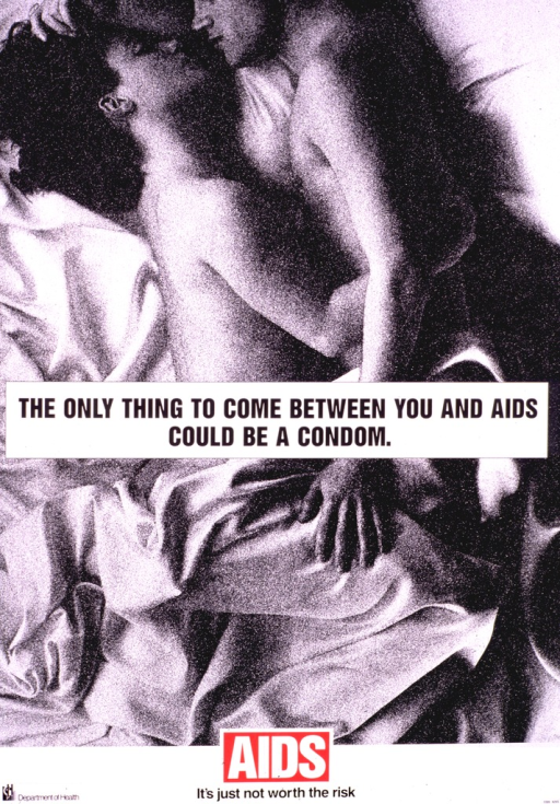 <p>White poster with black lettering, illustrated with a halftone of a man and woman in bed.  The word &quot;AIDS&quot; appears in block white capitals set in a red box.  The symbol for the &quot;Department of Health&quot; appears without mention of its locale in the lower left corner.</p>