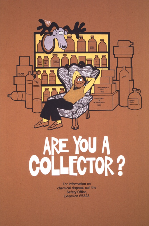 <p>The poster shows a man relaxing in a wing-backed chair.  He is surrounded by stacks of empty tanks and containers, and there is a set of shelves behind him with bottles and a hanging moose head with cobwebs.</p>