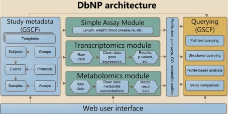 Schematic overview of the dbNP with generic study capturing framework (GSF), simple assay, transcriptomics, and metabolomics module