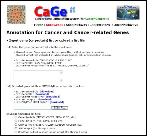 Cancer gene annotation page of CaGe web interface.