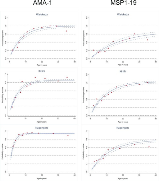 Seroconversion to AMA-1and MSP-119 by age, in three different epidemiological settings in Uganda.