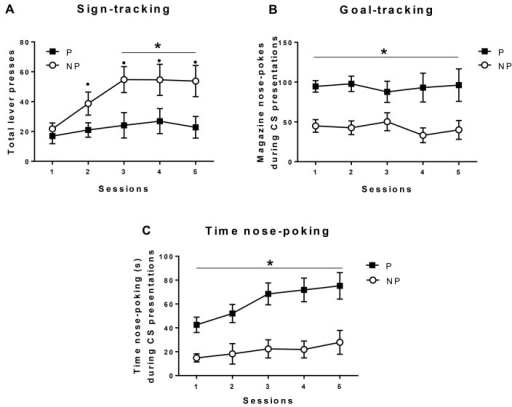 Pavlovian conditioned approach.Acquisition of Pavlovian conditioned approach in alcohol-preferring rats (P, closed squares) and alcohol-non-preferring rats (NP, open circles). Data are means ± SE of total lever presses (sign-tracking responses, a), total magazine nose-pokes during the CS-lever presentations (goal-tracking responses, b), and total time spent nose-poking during the CS-lever presentations (c). All p<0.05: (*) significant group differences, (•) versus session 1 in NP rats.