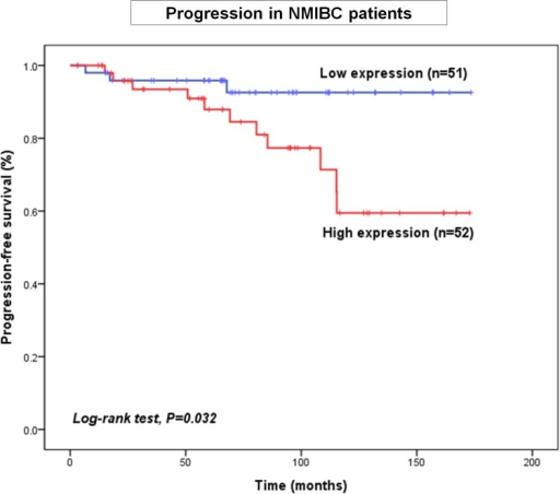 Kaplan–Meier curves showing that high expression of PDGFRL (one of the PDGFR isoforms) correlates with disease progression in NMIBC patients.