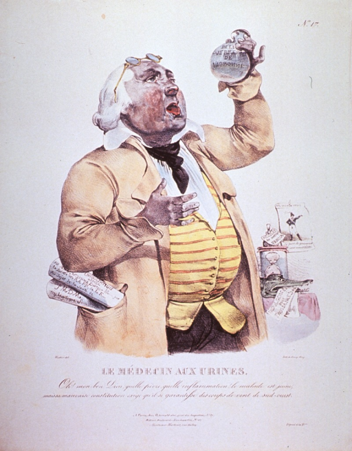 <p>A stout, elderly man, with eyeglasses perched on his forehead, is examining the contents of a urine flask.</p>