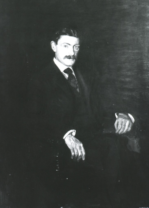<p>Three-quarter length, seated, right pose, full face; hands on arms of chair.</p>