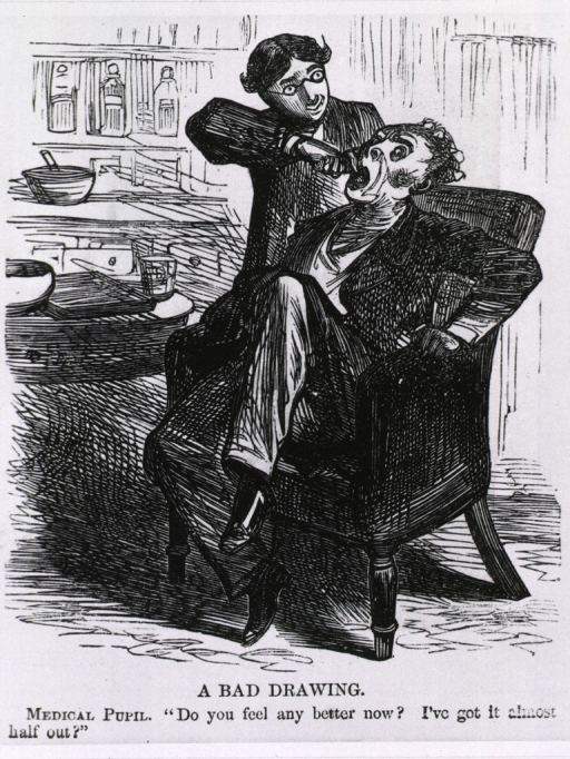 <p>A bad drawing [cartoon depicting medical pupil extracting a tooth].</p>