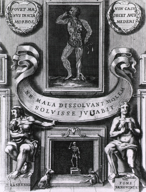 <p>Painting of a human figure with detail of the circulatory system hangs over a fireplace; on the left is a blood transfusion between a man and a sheep; on the right sits a human figure with heart exposed; dog and monkey(?) are chained to the fireplace.</p>