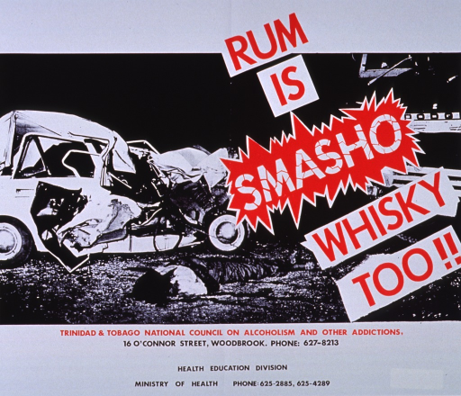 <p>White poster with red and black lettering.  Title on a diagonal across upper right corner.  Visual image is a reproduction of a b&amp;w photo of a car crash scene.  A body is on the ground near a car that is totally destroyed.  Sponsor and publisher information below photo.</p>
