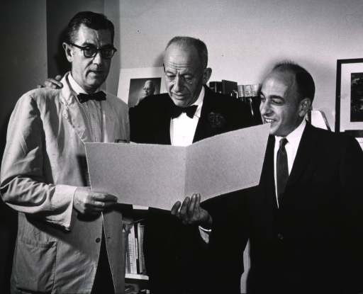 <p>Showing Dr. James A. Shannon, Dr. Robert Berliner and Dr. Homer Smith prior to Dr. Smith's lecture on April 26, 1960.</p>