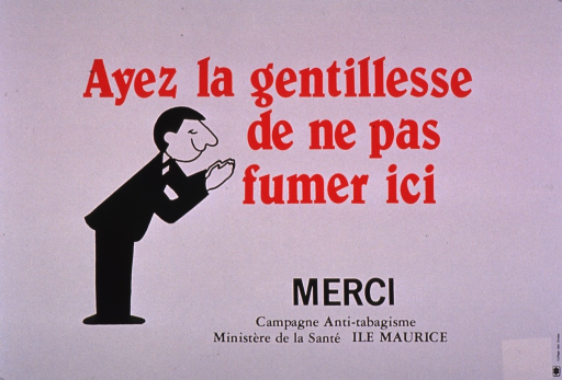 <p>Predominantly white poster with red and black lettering.  Title at top of poster.  Visual image is an illustration of a man bowing from the waist.  Note text offers thanks.  Publisher information below note.</p>