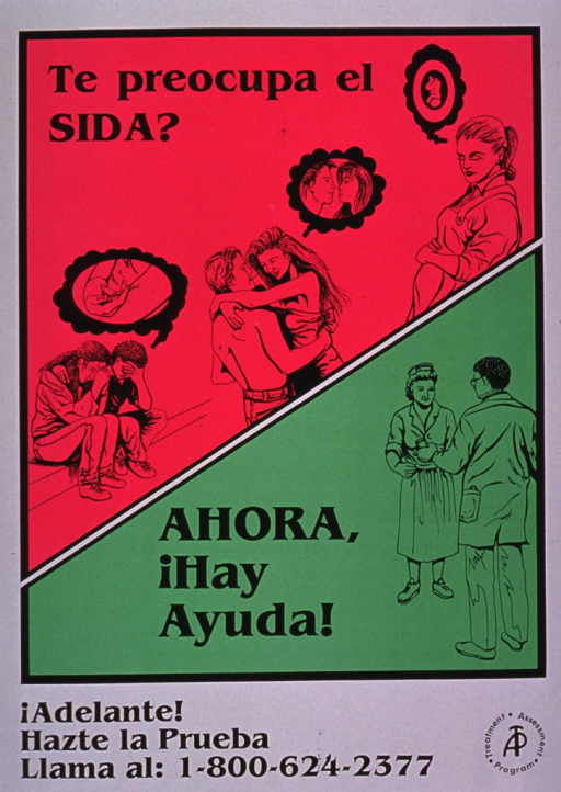 <p>The poster has a diagonal line running through it, dividing it into a top pink half and a bottom green half. The pink section shows three different images involving disease transmission. The first shows two young people sitting on a curb, visibly upset. The bubble above their heads shows a person injecting drugs into the vein in his/her arm. The second shows a young couple dancing and the bubble above their heads shows that they have a sexual encounter in mind. The third shows a pregnant woman and the bubble above her head shows that she is thinking of the fetus. The lower section shows two health care personnel, a nurse and a physician. The logo for the Treatment Assessment Program and a phone number for more information are at the bottom of the poster.</p>