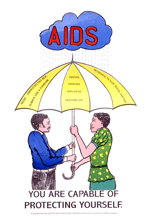 <p>Predominantly white poster with red and black lettering.  Initial title word superimposed on an illustration of a rain cloud at the top of the poster.  Visual image is an illustration of a man and woman holding an umbrella that protects them from the rain falling from the cloud.  The umbrella bears the note text.  Remaining title text below illustration.  Publisher information at bottom of poster.</p>