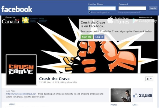 The Crush the Crave Facebook page.