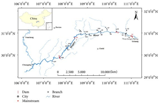 Location of sampling sites in TGR, China.