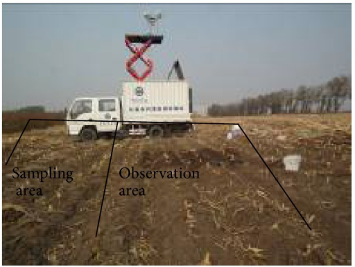 Truck-mounted C-band radiometer and its observing area.