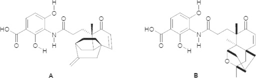 Structure of platencin (A) and platensimycin (B)
