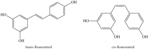 Chemical structures of trans-resveratrol and cis-resveratrol.