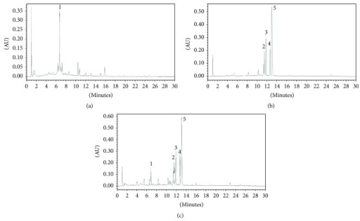HPLC chromatogram of RC-mix extract (1 mg/mL) detected 254 nm. Signals 1–5 identified to be sennoside A, epiberberine, coptisine, palmatine, and berberine in regular sequence. RC-mix, a water extract of Rhei rhizoma and Coptis rhizoma mixture.