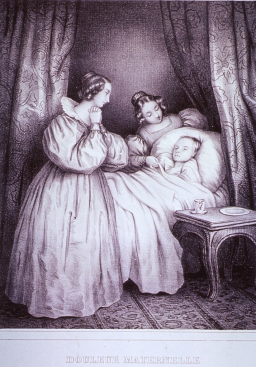 <p>Two women stand by the bed of a young child.</p>