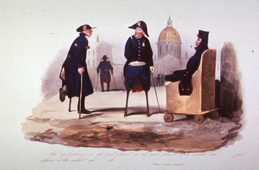 <p>Caricature:  exterior scene shows four soldiers, all with artificial limbs and various orthopedic devices.</p>