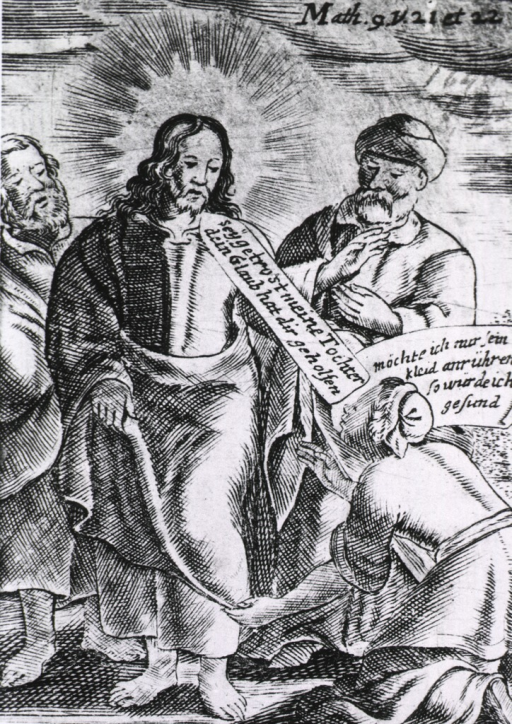<p>A woman kneels on the ground before Jesus and two other men, she appears to touch his robe as they speak to each other. The picture was apparently intended to illustrate Math. 9, verses 21 and 22.</p>