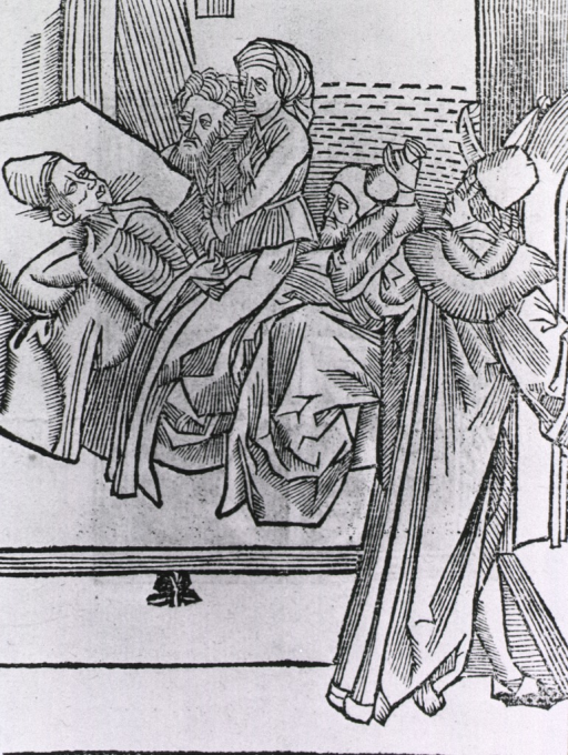 <p>A woman and two men observe a man lying in bed, while another man holds up a urine flask to examine the contents.</p>