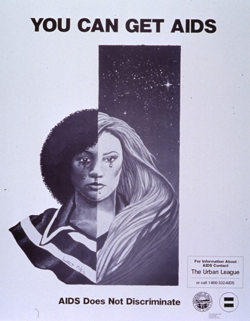 <p>White poster with black lettering.  Title at top of poster.  Visual image is an illustration showing a crying woman.  One half of the woman's face is a woman of African heritage and one half is a woman of European heritage.  Caption below illustration.  Note near lower right corner.  Publisher information in lower right corner.</p>