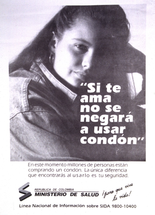 <p>Black and white poster.  Visual image is a photo reproduction featuring a young woman.  Title superimposed on photo indicates that a true love will not refuse to use a condom.  Publisher information at bottom of poster.</p>