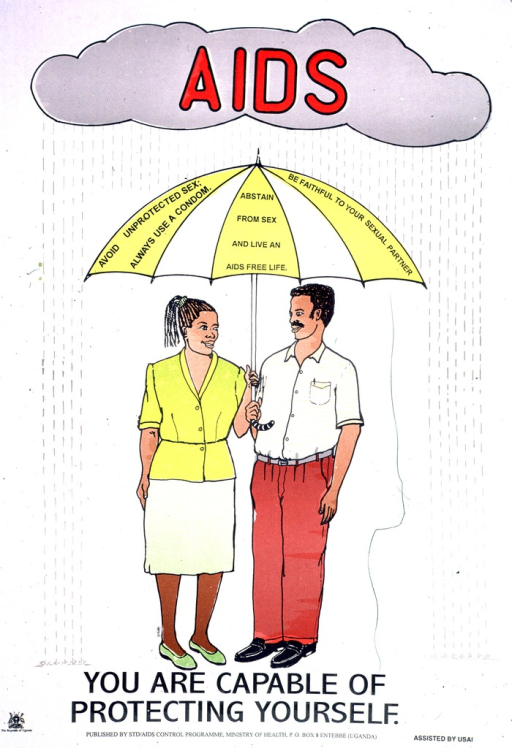 <p>Predominantly white poster with red and black lettering.  Initial title word superimposed on an illustration of a rain cloud at the top of the poster.  Visual image is an illustration of a man and woman holding an umbrella that protects them from the rain falling from the cloud.  The umbrella bears the note text.  Remaining title text below illustration.  Publisher and sponsor information at bottom of poster.</p>