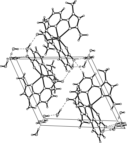 Crystal packing in (I) showing the hydrogen bonding interactions as dashed lines.