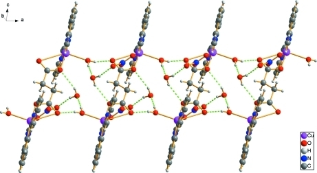 Crystal packing of the title complound. Hydrogen-bond interactions are drawn with dashed lines.