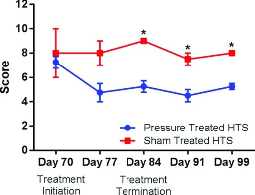 Changes in scar assessment using Vancouver Scar Scale scoring compared on the basis of treatment modality. *Significant differences were noted past day 77 between pressure-treated and the sham-treated scars.