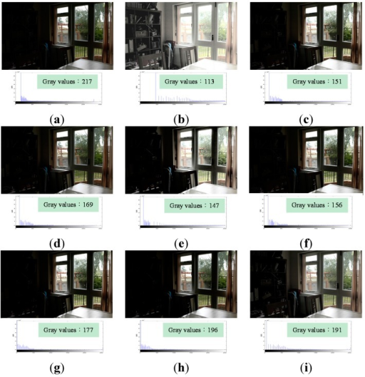 "Comparison results for the image ""Window View"" [25] (image size: 752 × 500 pixels). (a) Original image; (b) Histogram Equalization (HE); (c) Bi-histogram equalization (BBHE); (d) Recursive mean-separate histogram equalization (RMSHE) (r = 2); (e) Dualistic sub-image histogram equalization (DSIHE); (f) Recursive sub-image histogram equalization (RSIHE) (r = 2); (g) Bi-histogram equalization with a plateau level (BHEPL); (h) Dynamic quadrants histogram equalization plateau limit (DQHEPL); (i) Visual contrast enhancement algorithm (VCEA)."