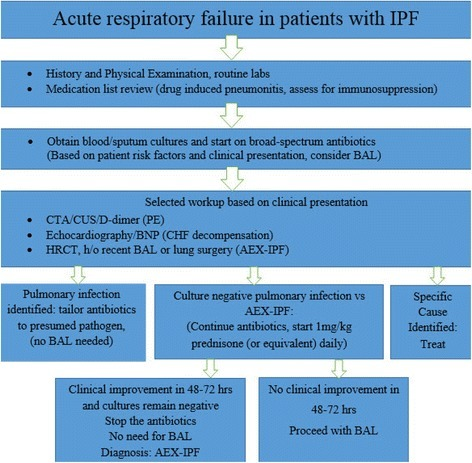 Suggested algorithm for the management of patients with IPF who present with acute respiratory failure. IPF-idiopathic pulmonary fibrosis, BAL-bronchoalveolar lavage, CTA-computer tomographic angiography, CUS-compression ultrasonography, PE-pulmonary embolism, BNP-brain natriuretic peptide, CHF-congested heart failure, AEX-IPF-acute exacerbation of idiopathic pulmonary fibrosis