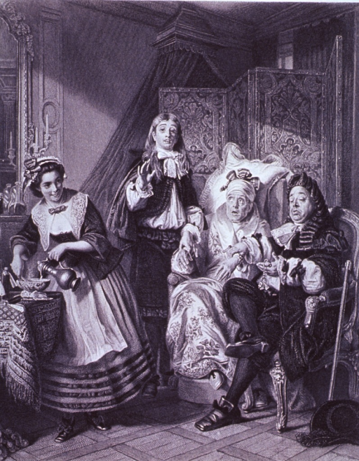 <p>A female patient is seated in a chair, next to her sits a pompous physician who is taking her pulse; to the left stands a servant, she is pouring from a decanter; another person stands on the patient's right.</p>