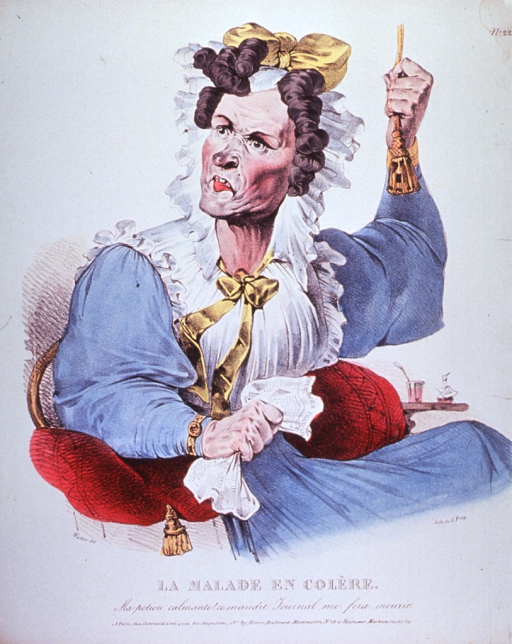 <p>An upset woman seated in a chair; right hand clutching handkerchief, left arm holding cord as she rings for the servents.</p>
