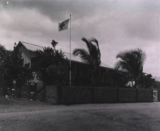 <p>An outside view of the house.  A Red Cross flag flies from the flagpole.</p>