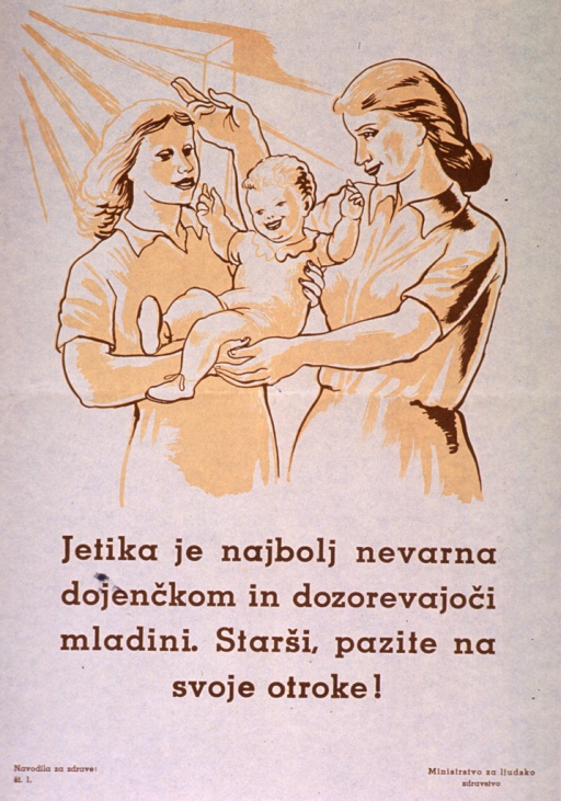 <p>Off white poster with brown lettering.  Visual image is an illustration of two women standing close together.  One woman holds a baby; the other gestures toward a window.  Title below illustration addresses tuberculosis as a dangerous disease and urges parents to pay attention to their children.  Series statement in lower left corner.  Publisher information in lower right corner.</p>